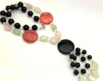 "Necklace Vintage Beaded Women Pink Cherry Quartz Black Onyx Green Phrenite Long 20.0"""