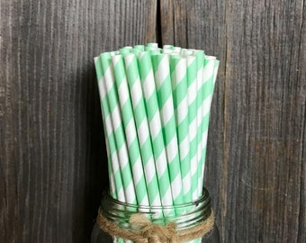 100 Mint Stripe Paper Straws, Baby Shower, Bridal Shower or Wedding Supply, Cake Pop Sticks, Disposable Tableware, Striped Party Goods