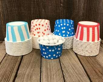 48 Red, White, and Sky Blue Candy Cups- Dr. Seuss Themed Nut Cups--Birthday Party Supply--Mini Cupcakes--Polka Dot and Striped Cups