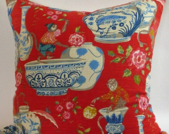 Red and Blue Chinese Jars Pillow Cover