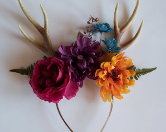 Autumn/Fall Floral Crown with Antlers