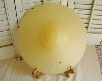 "Vintage MacBeth-Evans PETALWARE Art Deco Yellow 11.25"" Lamp Shade Satin Glass Light Fixture Shade"