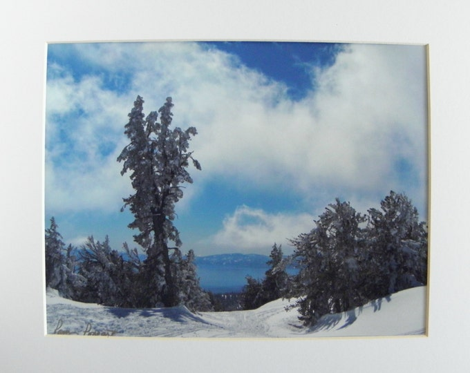 Storm Clouds over LAKE TAHOE Wall Decor, Fine Art Landscape Photography, Matted Enlargement, Frame-Ready, Gift Idea
