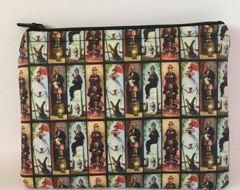 Disneyland-Inspired Haunted Mansion Stretching Portraits Handmade Fabric Medium Sized Zipper Pouch