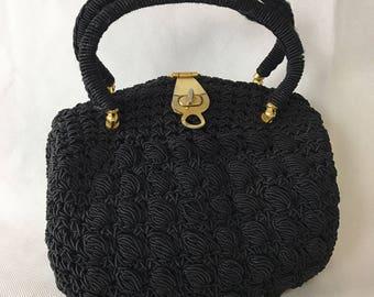 1950's Black Crochet Top Handle Bag
