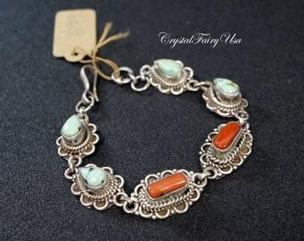 Vintage Full Sterling Silver Bracelet, Genuine Turquoise Bracelet, Coral Bangle, Antique Gemstone Bracelet