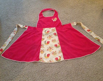 50-60's Handmade Red Bib Apron with Roosters and Flowers