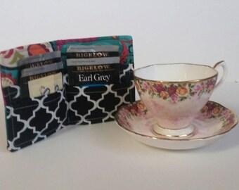 Tea Bag Storage,Tea Bag Wallet, Tea Wallet, Tea Bag Holder, Tea Bag Caddy, Travel Tea Bag Holder, Tea Bag Case,  Paisley  Turquoise