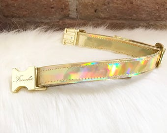 "Adjustable dog collar ""Holographic gold"""