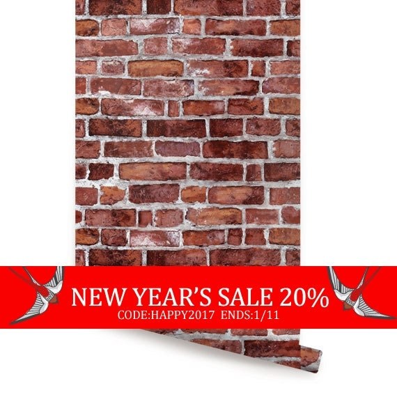 New year 39 s sale red brick self adhesive fabric by accentuwall for Brick wallpaper sale