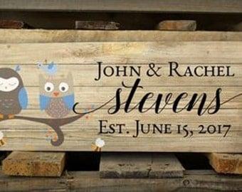 Family Name Pallet Box Sign With Owls In A Tree