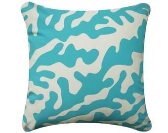 on sale coral throw pillow cover coastal pillows aqua pillow blue pillows - Coral Decorative Pillows