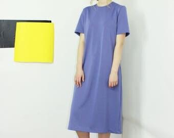 minimalist shift dress loose fit shirt dress pale purple midi dress basic LARGE