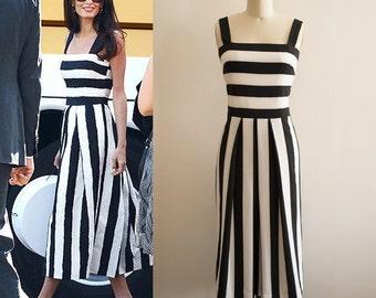Amal Clooney Black and White Striped Dress/ Stripes Dress/ Resort Dress/ Bustier dress/ Monochrome dress/