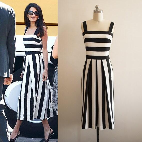 Amal Clooney Black et robe rayée blanc / rayures robe / Resort robe / Bustier robe / Monochrome robe /