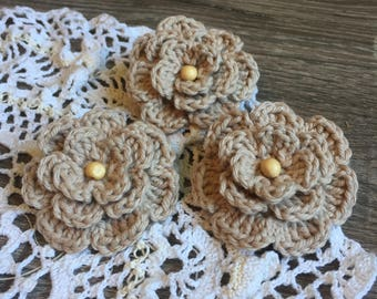 Set of 3 taupe crochet flower craft appliques with bead embellishment