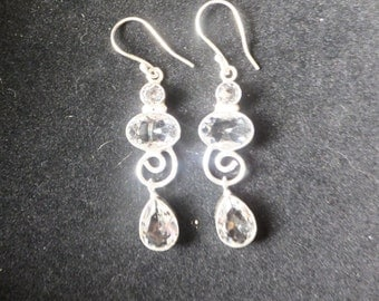 White Topaz and Sterling Silver Earrings