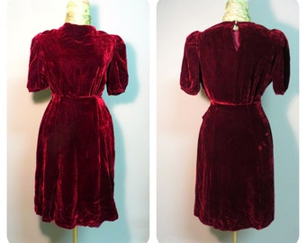 Vintage 1930/ 1940 velvet swing dress  xsmall/small