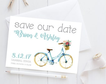 Rustic save the date, whimsical save the date, save the date, simple save the date, bicycle save the date, fun save the date
