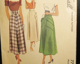 "1949 McCall Skirt Pattern #7711, 24"" Waist, Printed Pattern, Complete Pattern Including Instruction Sheet,"