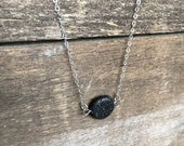 Flat Circle Lava Essential Oil Diffuser Necklace- Sterling Silver or 14K Gold Filled