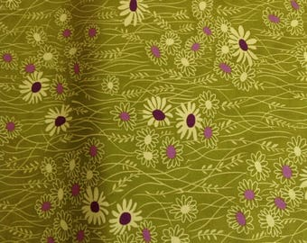 Gren and purple floral fabric quilters cotton. Simply Colorful II by V and Co.