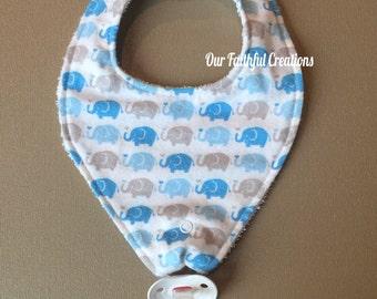 Elephant Pacifier Bib, Blue and Grey Elephant Bib, Binky Bib, Boy Bib, Pacifier Holder, Pacifier Clip, Drool Bib