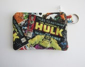 Keychain Zipper Pouch, Holds credit cards, earbuds, cash, & change. Business Card Holder, Coin purse, keyring, Marvel, Avengers, Comic