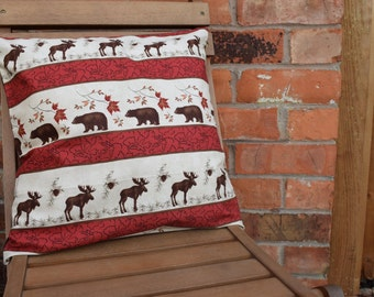 Canadian Bears and Mooses Cushion Cover, Handmade Cushion, Decorative Pillow, Canadian Bears, Canadian Mooses, Bear Cushion