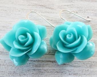 Turquoise rose earrings, large flower earrings, sterling silver 925 earrings, dangle earrings, drop earrings, romantic jewelry, gioielli