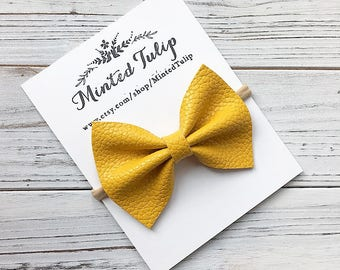 Mustard Yellow Textured Faux Leather Bow on Headband or Hair Clip Baby Toddler Kids Summer