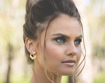 Interchangeable Earrings, Plated Gold Earrings, Ear Jackets, Chevron Jewelry, Elegant Earrings, Design Earrings, Girlfriend Gift Earrings