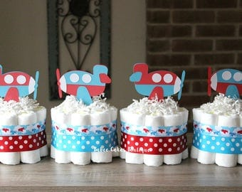 Set of 4 Mini Red and Blue Airplane Diaper Cakes, Boy Baby Shower, Airplane Diaper Cake, Airplane Shower Decor, Transportation Baby Shower