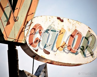 Color TV - Neon Television Repair Sign Photograph
