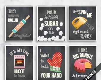 Rollin, Sugar, Spin Me, Hot, Your Hand, Big Bundts  (Funny Kitchen Song Series) Set 6 Art Prints (Featured Vintage Chalkboard) Kitchen Art