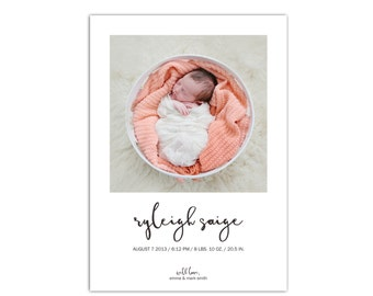 Baby Boy or Baby Girl Birth Announcement // Modern Baby Announcement Cards // 5x7 Printable Photo Birth Announcement // The Ryleigh