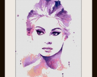 Sophia Loren - Artwork by Hannah Alexander, cross stitch pattern, cross stitch Sohphia Loren, Sophia Loren,  PDF pattern - instant download!