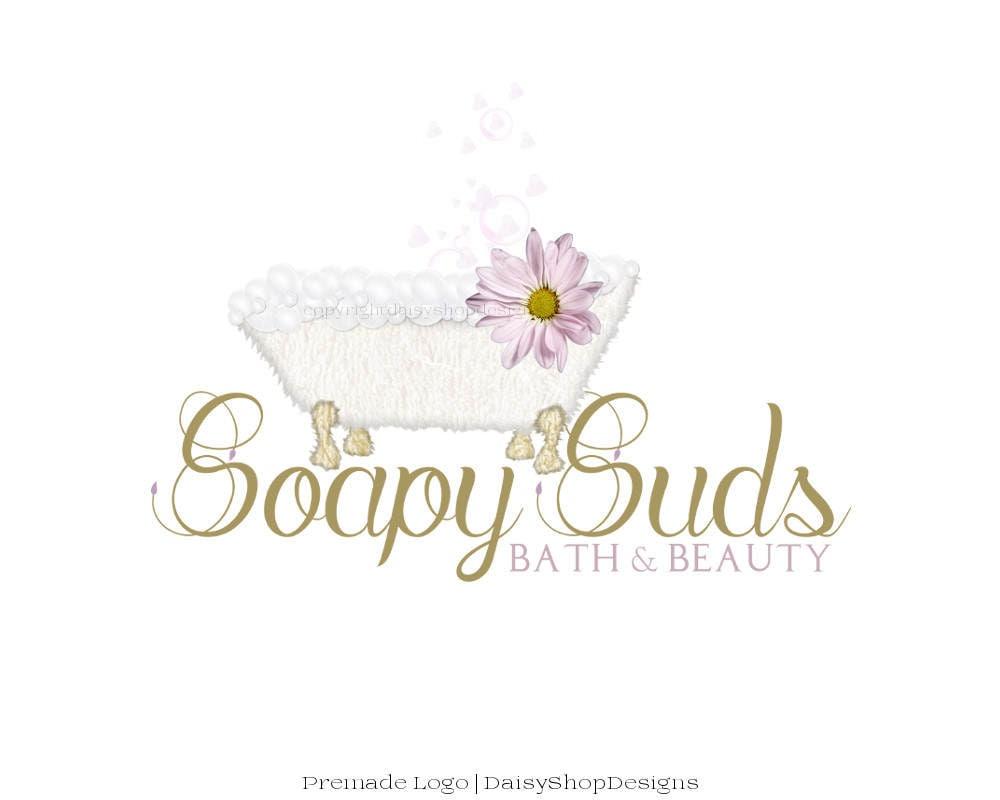 logo premade logo diseño baño burbujas margarita lila