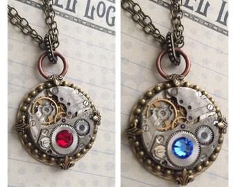 Steampunk Jewelry, Birthstone Jewelry, Steampunk, Steampunk Necklace, Jewelry, Clockworks,Gothic, Punker, Neo Victorian, Art, Womens Necklac