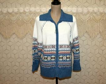 Fair Isle Sweater Zip Up Cardigan White Blue Nordic Medium Womens Sweaters Womens Cardigans Cotton Cardigan Cotton Sweater Womens Clothing