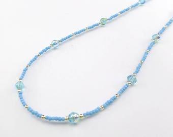 blue necklace, pastel necklace, delicate necklace, cornflower blue, pale blue necklace, summer necklace