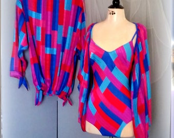50s RARE CATALINA 3-Piece Swim Set - 1-Piece Maillot Swim Suit - 2 Matching Cover-Ups - Brilliant Blue, Aqua, Red & Hot Pink - SMALL