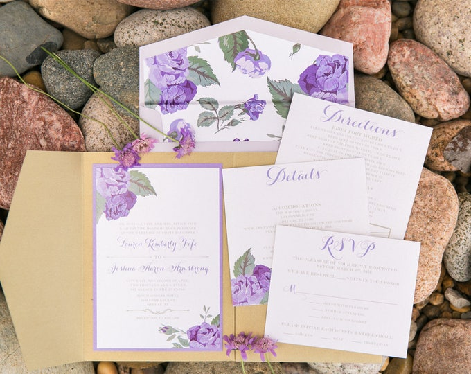 5x7 Gold Pocket Wedding Invitation with Florals Roses in Shades of Purple, Lavender with Flower Envelope Liner & Return Address Printing