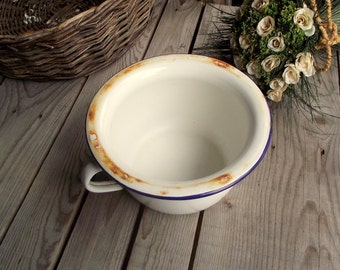 Vintage Chamber Pot - Enamel Chamber Pot - French Enameled Pot - Handled Bowl - Enamel Handled Bowl - White and Blue Enamelware - Home Decor