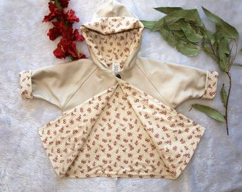 Girls Coat,Girls Jacket. Made in an Australian  Moleskin and fully lined in an adorable red rose print, Available In size 1 size2 and size 3