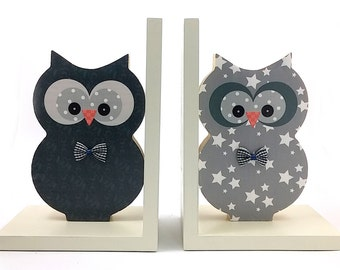 Kids bookends, Wooden gray Owl , boys room decoration , bookends wood owl , nursery decor , nursery bookends