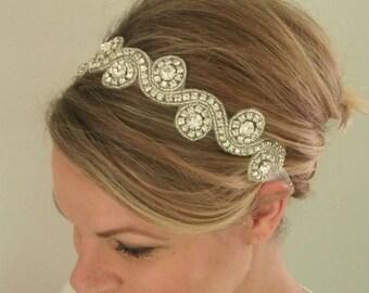 Crystal Headband, Silver Headband, Rhinestone Headband