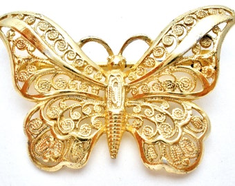 Butterfly Brooch, Alice Caviness, Sterling Silver,Gold Washed,Filigree Pin,Vintage Brooch,925 Filigree Pin,Sterling Butterfly Pin