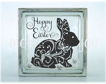 Hoppy Easter Glass Block Decal - Easter Glass Block Decal - Bunny Decal - Easter Bunny Glass Block - DIY Easter Decal - DIY Glass Block