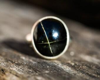Black Star Diopside Ring Size 5.5 - BlackStar of India Ring - Black Star Ring - Black Star Diopside - Black Star Diopside - Bowie Black star